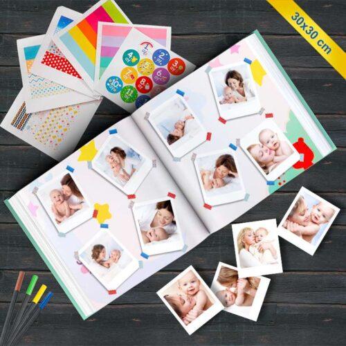 Bebek Anı Albümü ve 48 Adet Pola Kart Fotoğraf Baskı Seti