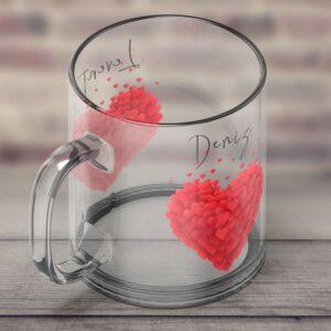 cam kupa bardak, isminize özel kalp desenli tasarım, fotoboya.com