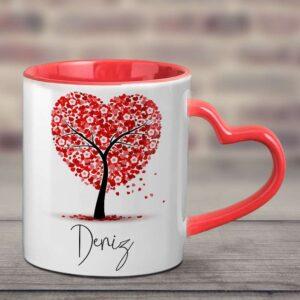 sapı ve içi kırmızı sapı kalpli kupa bardak, isminize özel tasarım, fotoboya.com