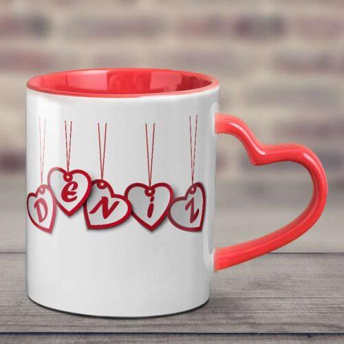 Sapı Kalpli ve İçi Kırmızı Özel Tasarım Kupa Bardak