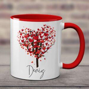 sapı ve içi kırmızı kupa bardak, isminize özel tasarım, fotoboya.com