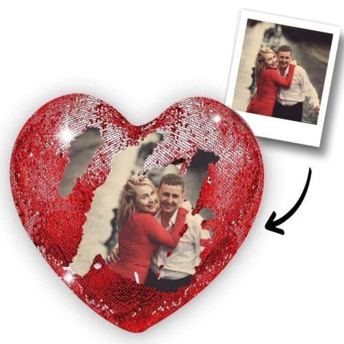 Fotoğrafından Sihirli Kırmızı Renk Kalp Yastık