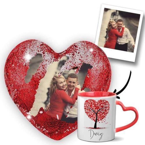Fotoğrafından Sihirli Kırmızı Renk Kalp Yastık ve Kalpli Kupa Bardak