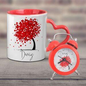 kırmızı çalar saat, kırmızı kalp kupa bardak, fotoboya.com