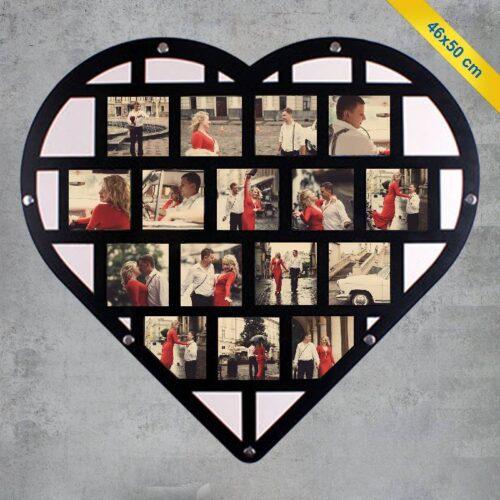 Kalp Tasarım Ahşap Fotoğraf Çerçevesi ve 16 Fotoğraf Baskı