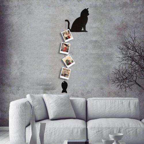 Oturan Kedi İpli Tasarım ve 4 Fotoğraf Baskı
