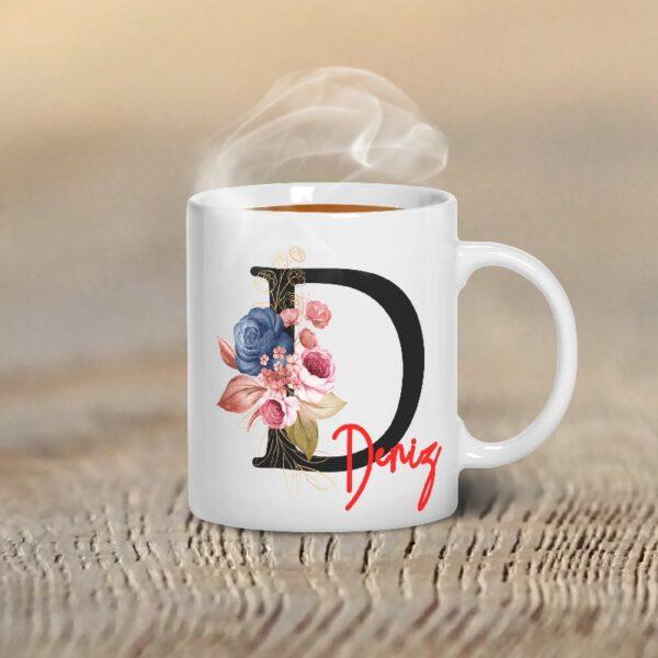 İsminize Özel Monogram Çiçek Tasarım Kupa Bardak , fotoboya.com