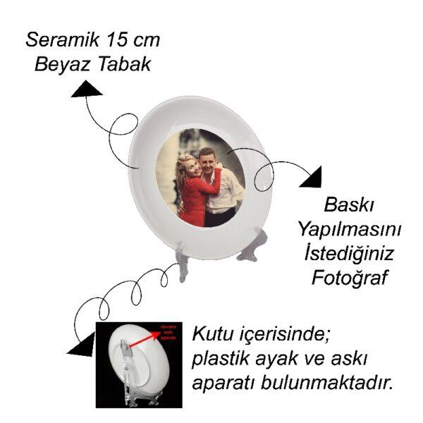 Fotoğrafından Kişiye Özel Tasarım Dekoratif Seramik Tabak 15 cm