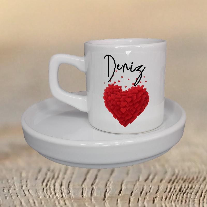 İsminize Özel Ay Türk Kahve Fincanı Kalp Kutusunda Kırmızı Kalp Desenleri ile Tasarımı Siz Seçin
