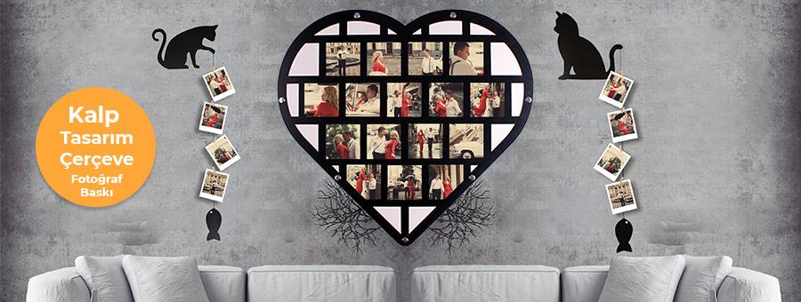 kalp tasarım fotoğraflı çerçeve, fotoboya.com