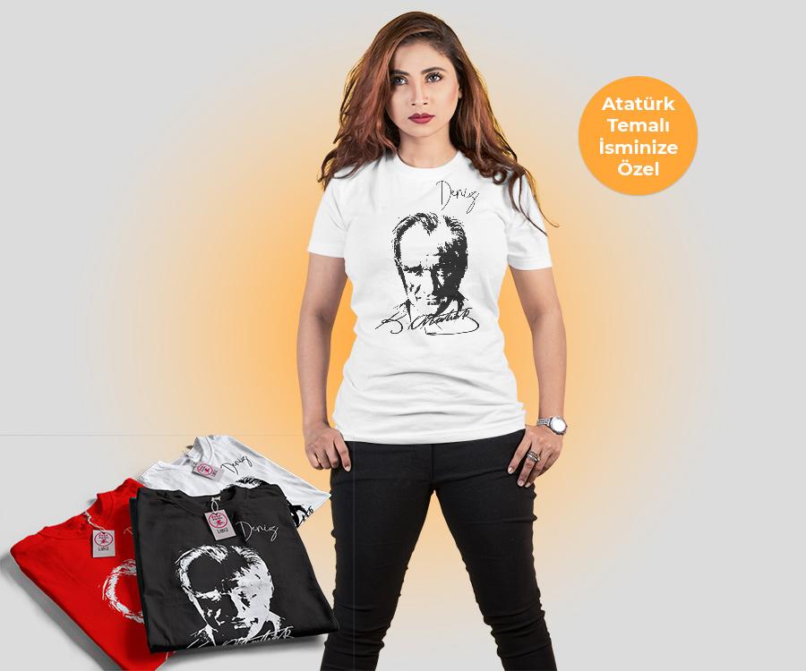 Atatürk Temalı İsminize Özel Dri-Fit Tişört, fotoboya.com