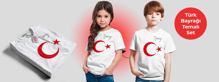 türk bayrağı temalı isminize özel tasarım tişört, fotoboya.com
