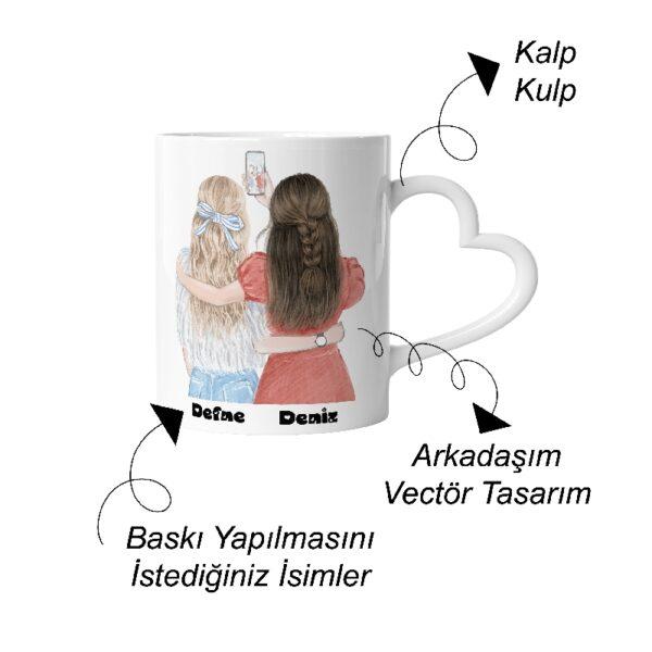 Kızlar Kalp Kulp Çizgi Karakter Özel Tasarım Kupa Bardak ve Sevimli Pelüş, fotoboya.com