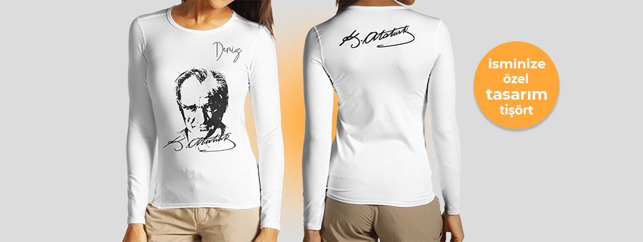 atatürk temalı isminize özel tasarım uzun kollu tişört, fotoboya.com