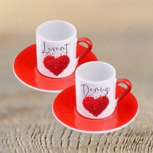 İsminize Özel İkili Türk Kahve Fincan Seti Kırmızı Kalp Desenleri ile Tasarımı Siz Seçin, fotoboya.com