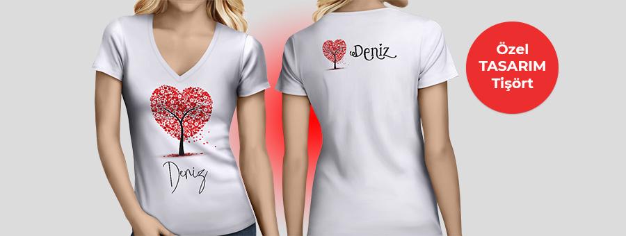 kalp desenli özel tasarım tişört, fotoboya.com